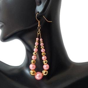 E1701 Pink & Gold Beaded Teardrop Earrings